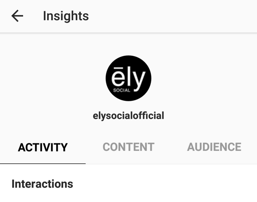 Screenshot of the Instagram analytics screen