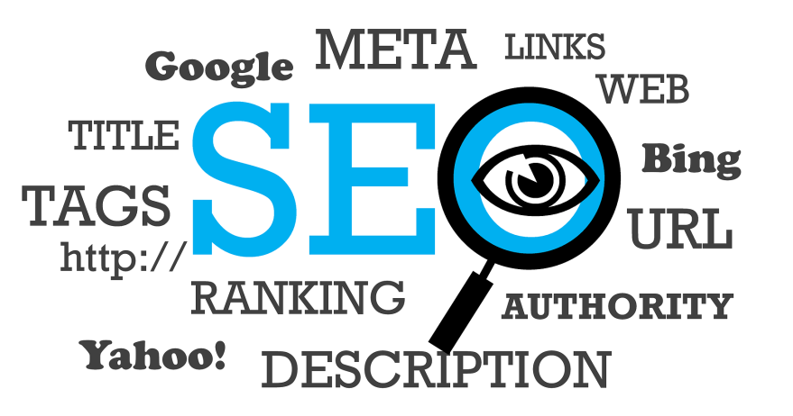 "Image that reads ""SEO"" in large letters with the ""O"" as a magnifying glass - around it are related terms like ""tags,"" ""on-page seo,"" metadata, etc."