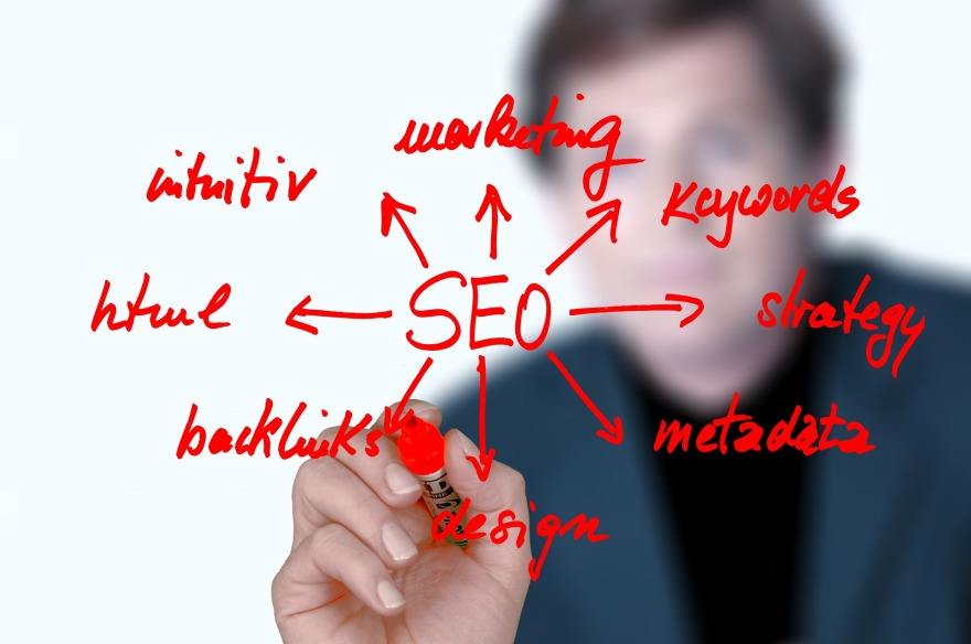 Image of a person writing SEO terms in front of them